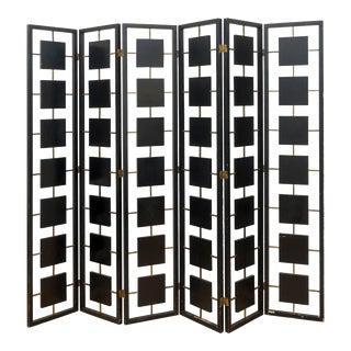 Brass & Black Lacquer Six-Panel Screen