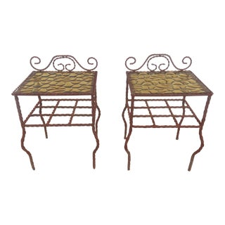 Painted Metal Amber Glass Tables - A Pair