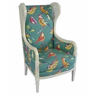 Reupolstered Caned Sides Wingback Chair