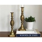 Image of Antique Diamond Prince Brass Candlesticks - A Pair
