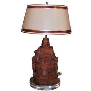 Antique Chinese Carved Buddha Lamp