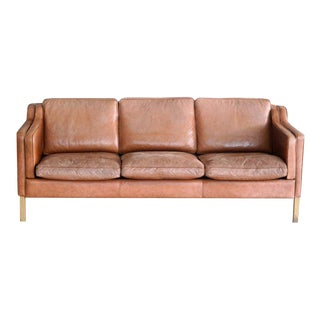 Børge Mogensen Style Sofa Model 2213 in Light Cognac Leather by Stouby Mobler