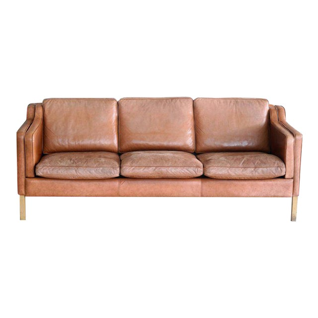 Børge Mogensen Style Sofa Model 2213 in Light Cognac Leather by Stouby Mobler - Image 1 of 10