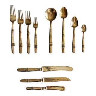 Mid-Century Brass Flatware Set - Set of 11