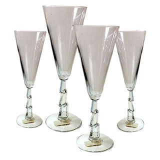 Libbey Glass Lightening Bolt Flutes- Set of 4