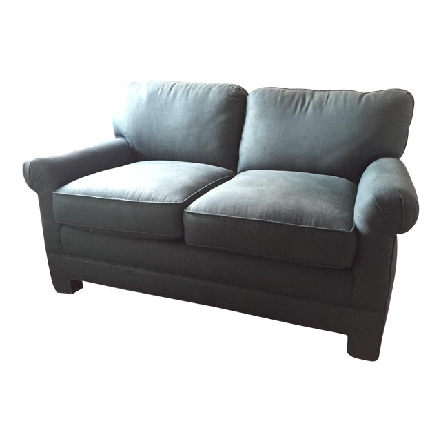 Rolled Arm Forest Green Linen Loveseat - Image 1 of 7