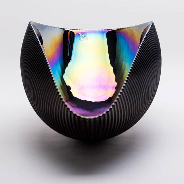 Murano Bowl in Matte Black with Iridescent Colors - Image 3 of 7