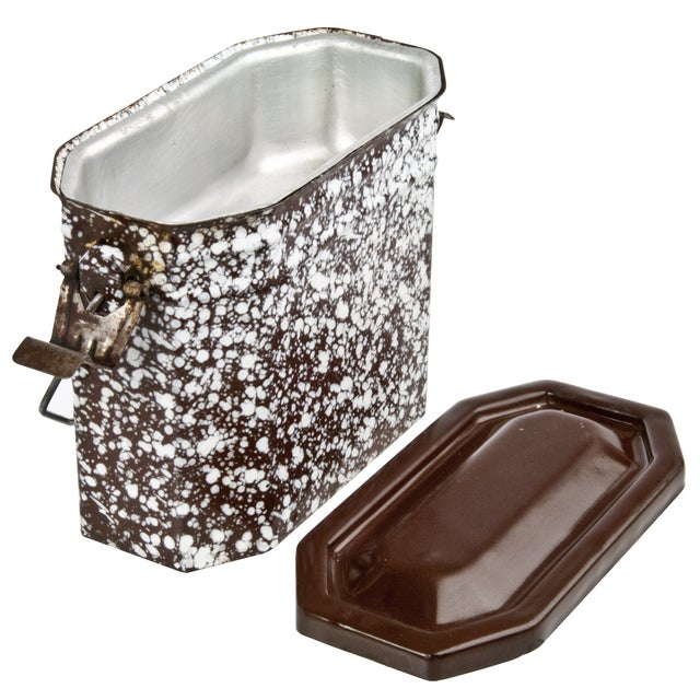Vintage French Brown & White Enamel Lunch Pail - Image 2 of 3