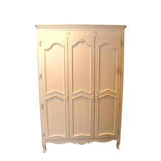 Children's Antique Finish Carved White Armoire