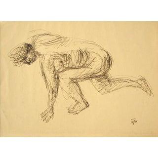 Vintage Crouching Figure in Ink