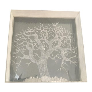 Mid-Century Hand Etched Acrylic Cube