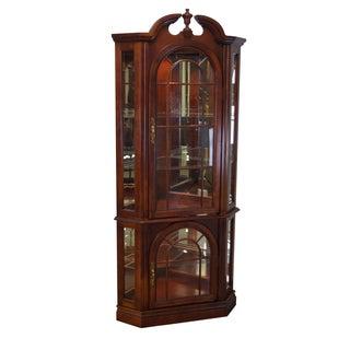 Traditional Cherry Corner Curio Display Cabinet