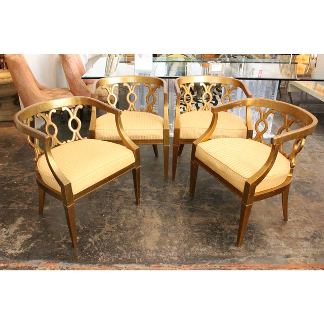 Regency Gold Leaf Barrel Chairs - Set of 4 - Image 6 of 8