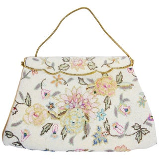 Vintage Floral Micro Beaded Bag Circa 1960s