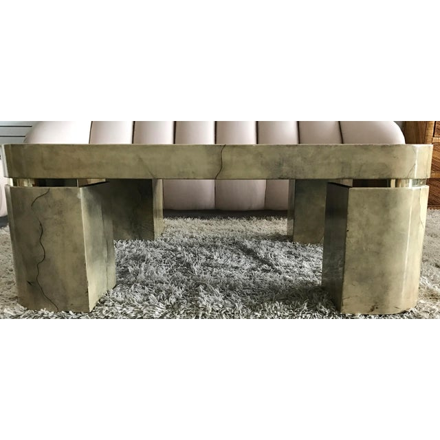 Karl Springer Style Lacquered Goatskin Coffee Table - Image 3 of 8