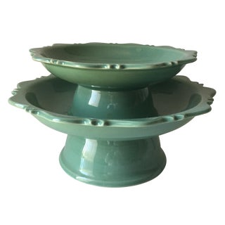 Celadon Footed Cake Stands-Tozai - A Pair