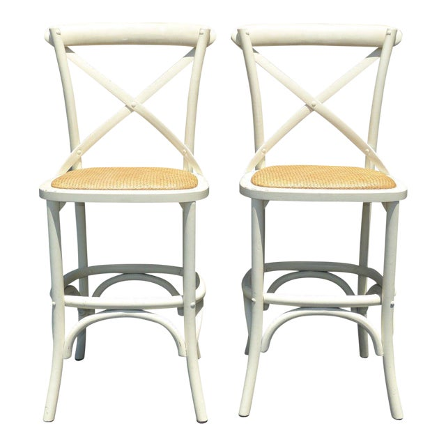 Vintage French Country White Rye Seat Bar Stools - A Pair - Image 1 of 11