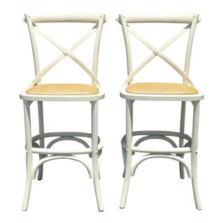 Vintage French Country White Rye Seat Bar Stools - A Pair