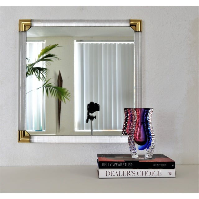 Mid-Century Modern Lucite & Brass Wall Mirror Charles Hollis Jones Style - Image 9 of 11