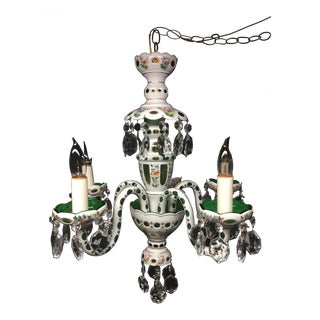 Vintage Czech White Opaline and Emerald Glass Chandelier