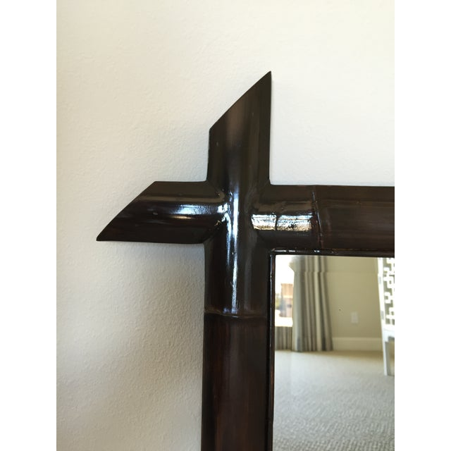 Brown Lacquered Bamboo Mirror - Image 3 of 4