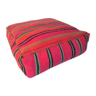 Red and Green Moroccan Kilim Floor Pillow