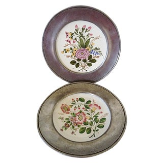 Italian Bassano Plates Mounted in Pewter - A Pair