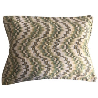 Vintage English Flame Stitch Linen Pillow
