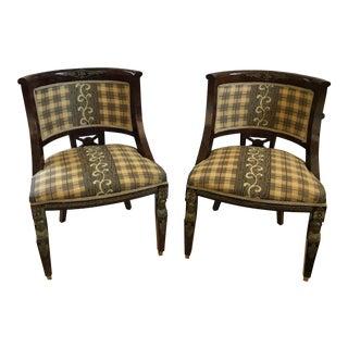 European Antique Style Plaid Chairs - A Pair
