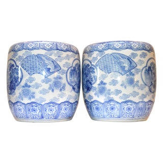 Japanese Blue & White Ceramic Boxes - A Pair