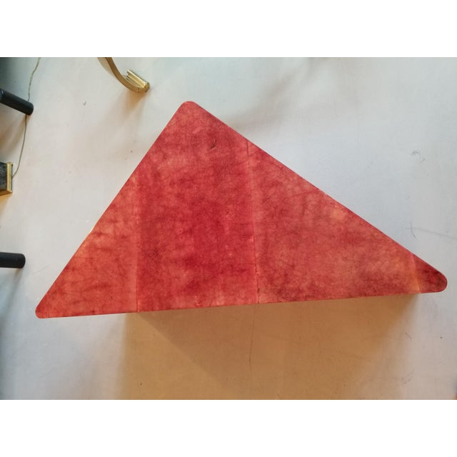 1980's Triangular Died Parchment Coffee Table in the Manner of Aldo Tura - Image 3 of 4