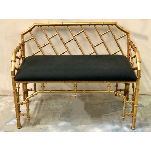 Gilt Metal Hollywood Regency Style Bench - Image 3 of 4