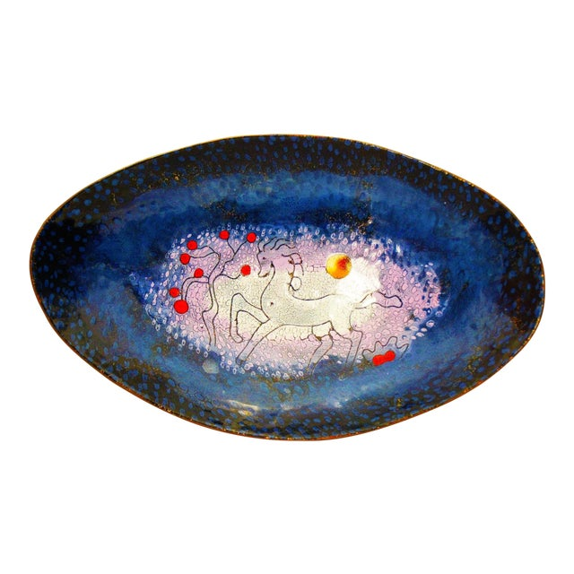 Image of Mid-Century Modern Enamel & Copper Dish by Lopez Rodezno