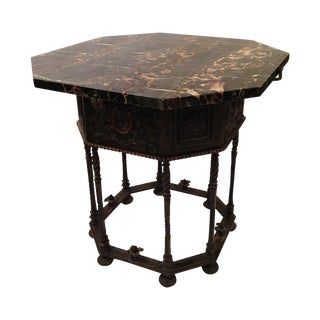 Egyptian Marble Cast Bronze Table