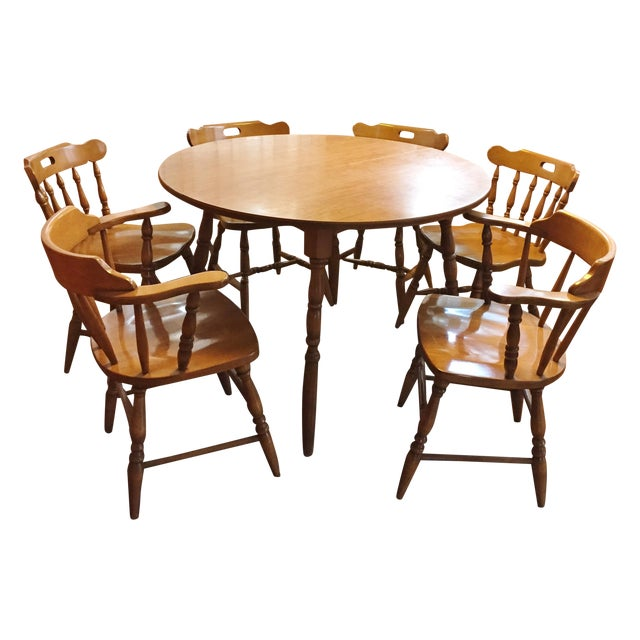 Mid-Century Modern Captain's Table & Six Chairs - Image 1 of 8