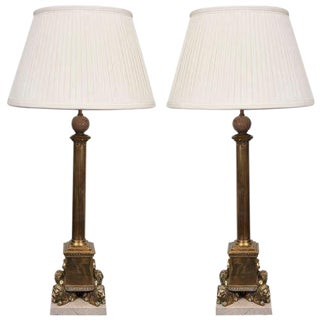 Empire Style Marble and Bronze Lamps - A Pair
