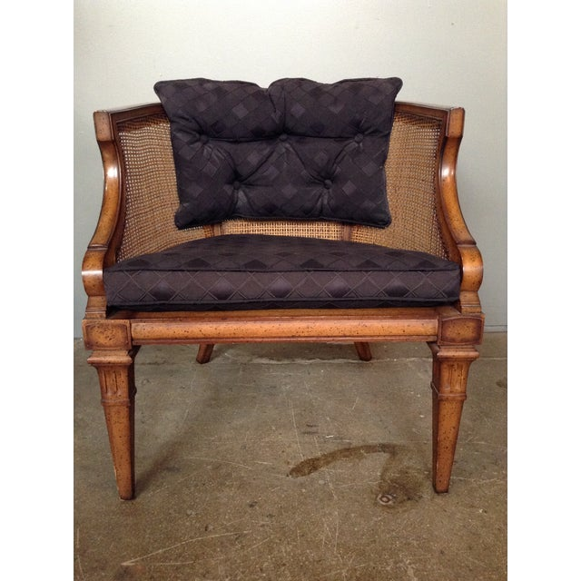 Caned and Upholstered Barrel Back Lounge Chair - Image 4 of 10