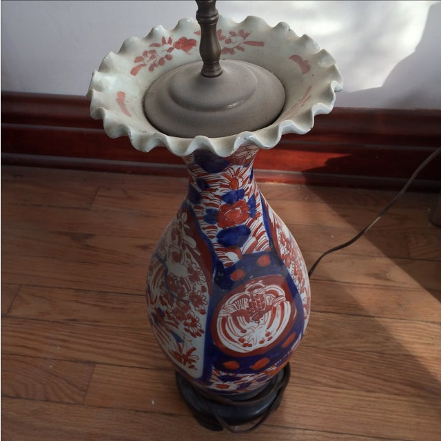 Antique Chinese Red & Blue Porcelain Table Lamp - Image 6 of 11