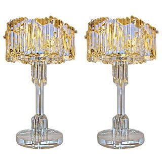 Pair of Murano Glass and Heavy Lucite Base Table Lamps