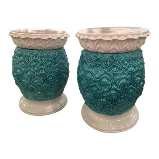 Italian Glazed Terracotta Pineapple Garden Stools - A Pair