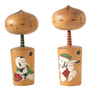 Vintage Kokeshi Doll Figurines - A Pair