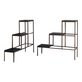 Pair of Stepped Iron Display Frames with Blue Stone Shelves, France c. 1940