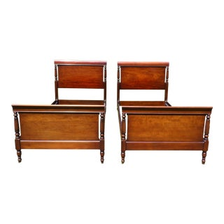 Antique Kindel Oxford Solid Mahogany Twin Sleigh Beds - a Pair