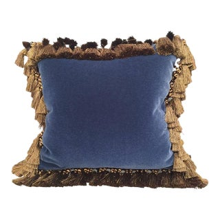 French Custom Blue Velvet Pillow Handmade With 18th Century Aubusson Tapestry, Trims and Tassels