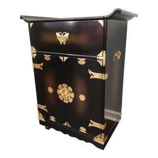 Mid Century Asian Chinoiserie Rolling Bar Cart / Server