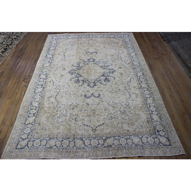 "Vintage Turkish Over-Dyed Cream Rug - 6'7"" x 9'7"" - Image 2 of 8"
