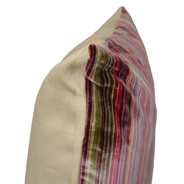 Scalamandré 100% Silk Velvet Rainbow Stripe Pillow - Image 9 of 10