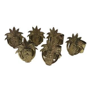 Brass Pineapple Napkin Rings - Set of 6
