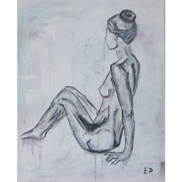 Sitting Nude Woman-Abstract Figurative Painting - Image 1 of 4