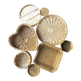 Bohemian Wall Hanging Woven Basket - Set of 8